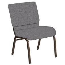 21''W Church Chair in Ribbons Fog Fabric - Gold Vein Frame