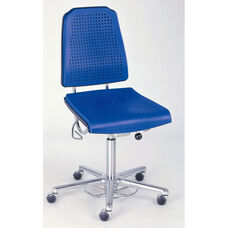 Aklaim Flagship Series Blue Task Chair with Ergonomic Upholstery and Star Base with Self-Braking Casters - Low Profile