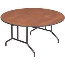 Round Sealed and Stained Plywood Top Table with Vinyl T - Molding Edge - 72