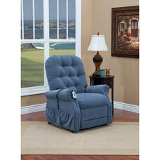 Two Way Reclining Power Lift Chair with Matching Arm and Headrest Covers - Aaron Williamsburg Blue Fabric