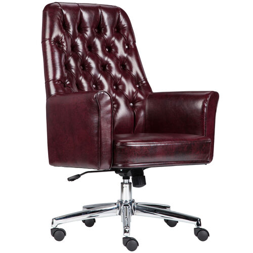Our Mid-Back Traditional Tufted Burgundy LeatherSoft Executive Swivel Office Chair with Arms is on sale now.