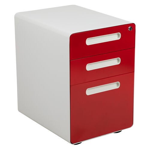 Our Ergonomic 3-Drawer Mobile Locking Filing Cabinet with Anti-Tilt Mechanism and Hanging Drawer for Legal & Letter Files, White with Red Faceplate is on sale now.