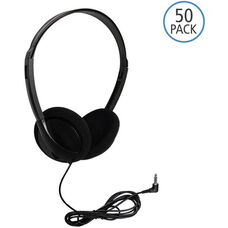 Black On-Ear Personal Economical Headphones with Foam Ear Cushions and Background Noise Reducing Capabilities - Set of 50 Headphones