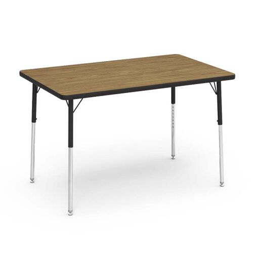Our 4000 Series Adjustable Height Rectangular Laminate Activity Table with Medium Oak Top - 30