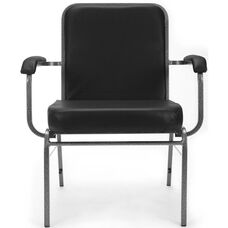 Comfort Class Big & Tall 500 lb. Capacity Anti-Microbial and Anti-Bacterial Vinyl Stack Chair with Arms- Black