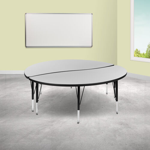 """2 Piece 60"""" Circle Wave Collaborative Grey Thermal Laminate Activity Table Set - Height Adjustable Short Legs"""