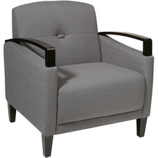 Ave Six Main Street Chair with Espresso Finish Legs and Curved Arms - Charcoal