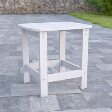 Charlestown All-Weather Poly Resin Wood Adirondack Side Table in White