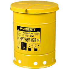 6 Gallon Steel Hand-Operated Oily Waste Can - Yellow