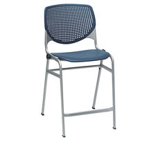 KOOL Series Stacking Poly Counter Height Stool with Perforated Back and Silver Frame - Navy