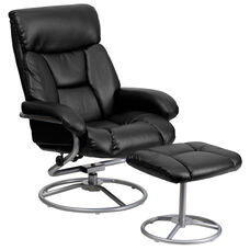 Contemporary Multi-Position Recliner and Ottoman with Metal Base in Black Leather