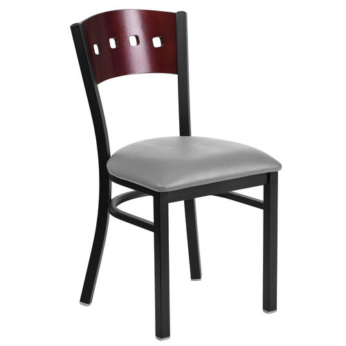 Our Black Decorative 4 Square Back Metal Restaurant Chair with Mahogany Wood Back & Custom Upholstered Seat is on sale now.