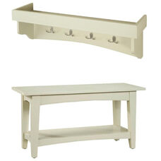 Shaker Cottage Hall Tree Set with Tray Top and Open Bench - Sand