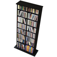 Double Multimedia Storage Tower with 14 Adjustable Shelves - Black