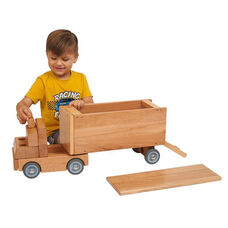 Solid Wood Transport Vehicle - Big Rig with Removable Roof and Working Tailgate
