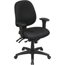 Work Smart Mid Back Multi Function Ergonomics Office Chair - Black