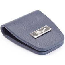 Slim Magnetic Money Clip - Saffiano Genuine Leather - Blue