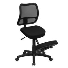 Mobile Ergonomic Kneeling Swivel Task Office Chair with Black Mesh Back and Fabric Seat