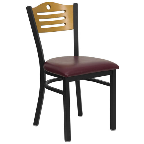 Our Black Slat Back Metal Restaurant Chair with Natural Wood Back & Burgundy Vinyl Seat is on sale now.