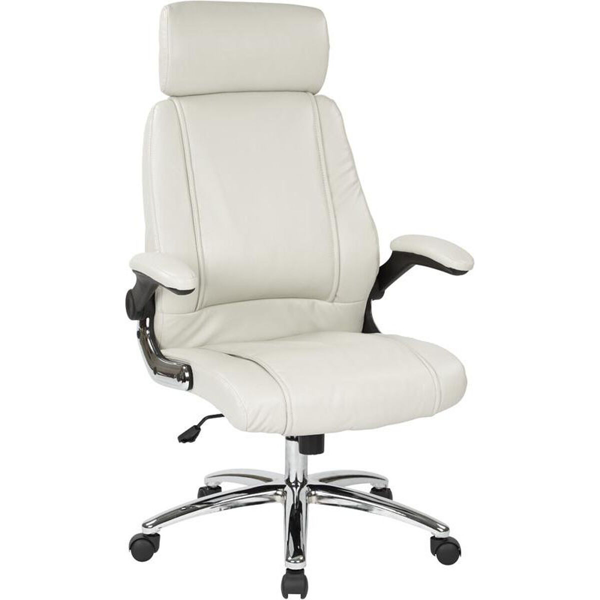 Our Work Smart Executive Faux Leather Office Chair With Chrome Metal Base Cream Is On