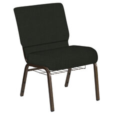 Embroidered 21''W Church Chair in Interweave Black Fabric with Book Rack - Gold Vein Frame