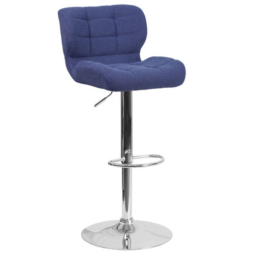 Our Contemporary Tufted Blue Fabric Adjustable Height Barstool with Chrome Base is on sale now.