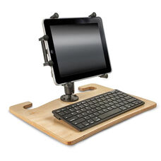Wooden Wheelmate Extreme Ergonomic Travel Desk with Bluetooth Keyboard and X-Grip Mount for 10