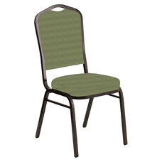 Embroidered Crown Back Banquet Chair in Harmony Sea Green Fabric - Gold Vein Frame