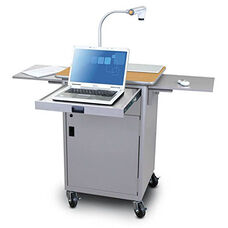 Vizion Teaching Presentation Cart with Locking Cabinet and Steel Doors - Silver Powdercoat Paint and Oak Laminate