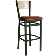 Dale Metal Frame Barstool - Wood Back and Vinyl Seat
