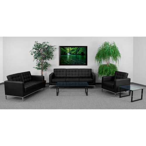 """HERCULES Lacey Series Reception Set in Black LeatherSoft with <span style=""""color:#0000CD;"""">Free </span> Tables"""
