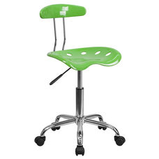 Vibrant Spicy Lime and Chrome Swivel Task Office Chair with Tractor Seat