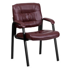 Burgundy Leather Executive Side Reception Chair with Black Frame Finish