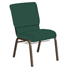 Embroidered 18.5''W Church Chair in Jewel Emerald Fabric with Book Rack - Gold Vein Frame