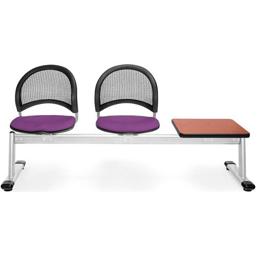 Our Moon 3-Beam Seating with 2 Plum Fabric Seats and 1 Table - Cherry Finish is on sale now.