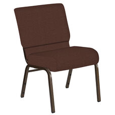 Embroidered 21''W Church Chair in Cobblestone Cordovan Fabric - Gold Vein Frame