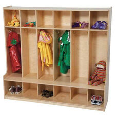 6-Section Seat Locker with Two Coat Hooks in Each Section - Assembled - 54