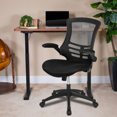 """48""""W x 24""""D Mahogany Electric Height Adjustable Standing Desk with Black Mesh Swivel Ergonomic Task Office Chair"""