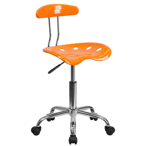Our Vibrant Orange and Chrome Swivel Task Office Chair with Tractor Seat is on sale now.