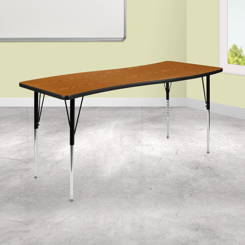 "26""W x 60""L Rectangular Wave Collaborative Oak Thermal Laminate Activity Table - Standard Height Adjustable Legs"