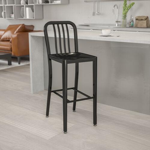 "Commercial Grade 30"" High Metal Indoor-Outdoor Barstool with Vertical Slat Back"