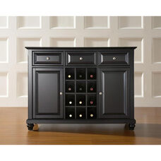 Buffet Server and Sideboard Cabinet with Wine Storage with Cambridge Style Feet - Black Finish