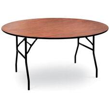 48'' Diameter Round Laminate Folding Table with Locking Wishbone Style Legs