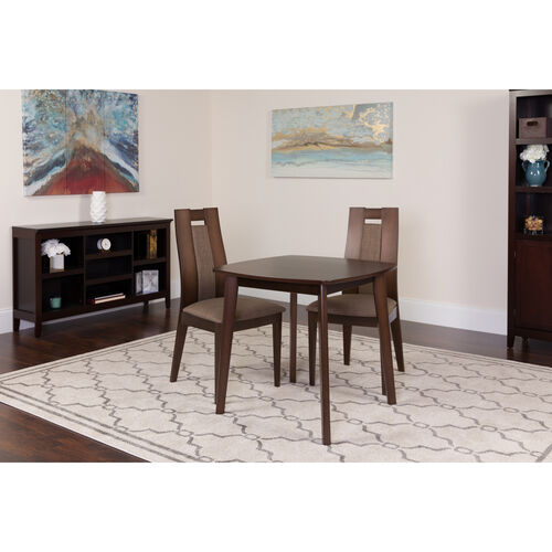Our Coventry 3 Piece Espresso Wood Dining Table Set with Curved Slat Wood Dining Chairs - Padded Seats is on sale now.