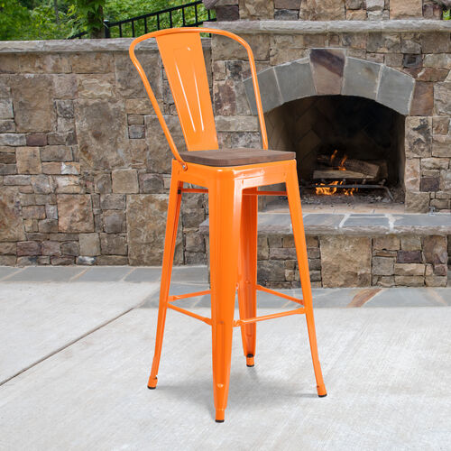 "Our 30"" High Orange Metal Barstool with Back and Wood Seat is on sale now."
