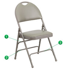HERCULES Series Ultra-Premium Triple Braced Gray Vinyl Metal Folding Chair with Easy-Carry Handle