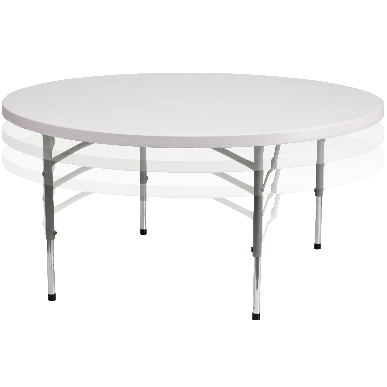 60u0027u0027 Round Height Adjustable Granite White Plastic Folding Table