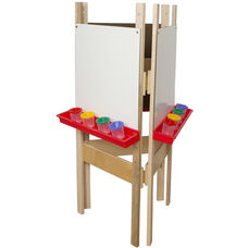 Adjustable Three Person Marker Board Easel with Durable Plastic Trays Attached - 24