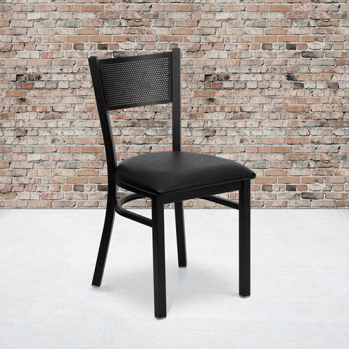 Black Grid Back Metal Restaurant Chair