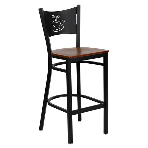 Our Black Coffee Back Metal Restaurant Barstool with Cherry Wood Seat is on sale now.